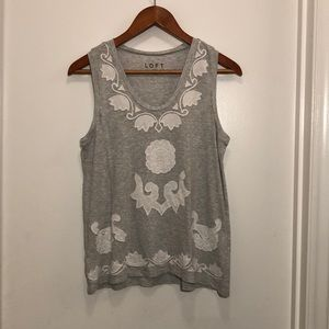White lace embroidered floral tank